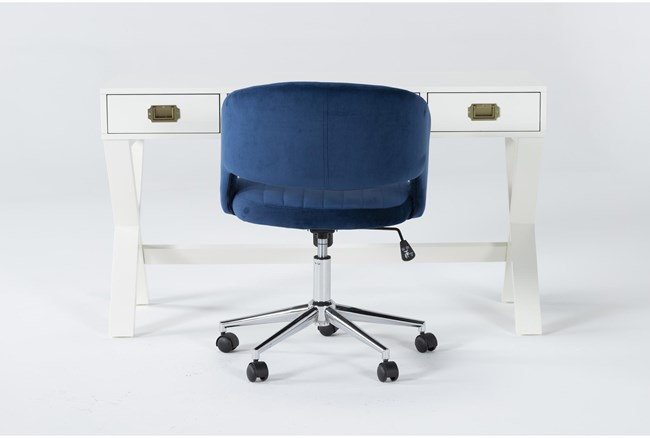 2 Piece Office Set With Adams White Desk + Phoebe Blue Office Chair - 360