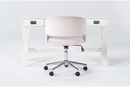 2 Piece Office Set With Adams White Desk + Phoebe Blush Office Chair