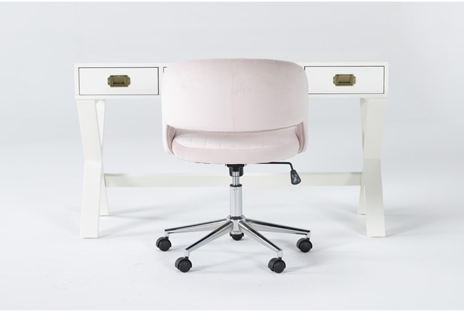 2 Piece Office Set With Adams White Desk + Phoebe Blush Office Chair - 360
