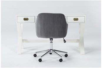 2 Piece Office Set With Adams White Desk + Robyn Grey Velvet Chair