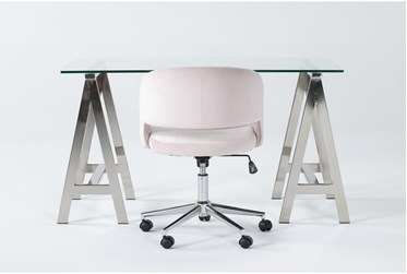 2 Piece Office Set With Anika Desk + Phoebe Blush Pink Office Chair
