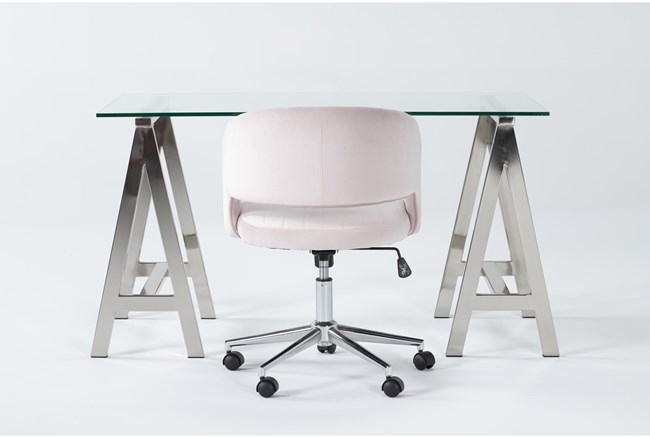 2 Piece Office Set With Anika Desk + Phoebe Blush Pink Office Chair - 360