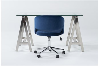 2 Piece Office Set With Anika Desk + Phoebe Blue Office Chair