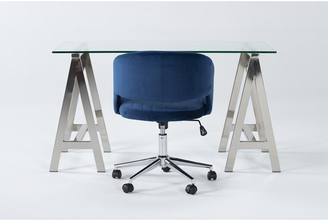 2 Piece Office Set With Anika Desk + Phoebe Blue Office Chair - 360