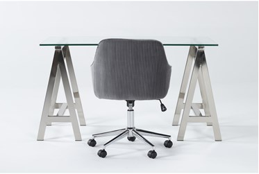 2 Piece Office Set With Anika Desk + Robyn Grey Velvet Office Chair