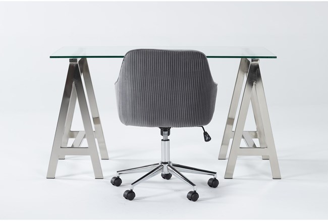 2 Piece Office Set With Anika Desk + Robyn Grey Velvet Office Chair - 360
