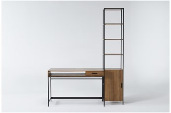 Hollis 2 Piece Office Set With Writing Desk + Narrow Cabinet Pier