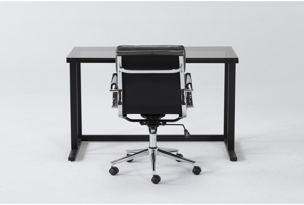 2 Piece Office Set With Studio Glass Desk + Moby Grey Low Back Office Chair