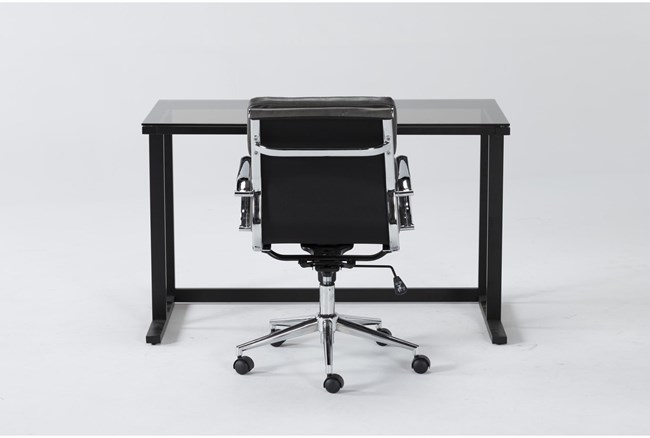 2 Piece Office Set With Studio Glass Desk + Moby Grey Low Back Office Chair - 360