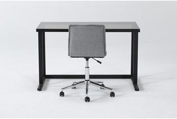 2 Piece Office Set With Studio Glass Desk + Rudy Grey Office Chair