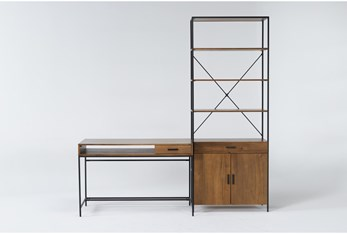 Hollis 2 Piece Office Set With Writing Desk + Wide Cabinet Pier