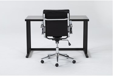 2 Piece Office Set With Studio Glass Desk + Moby Black Low Back Office Chair