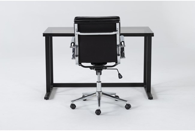 2 Piece Office Set With Studio Glass Desk + Moby Black Low Back Office Chair - 360