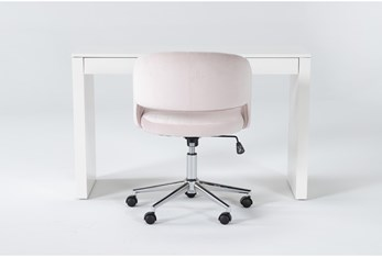 2 Piece Office Set With Vember White Desk + Phoebe Blush Pink Office Chair