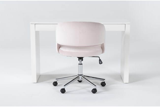 2 Piece Office Set With Vember White Desk + Phoebe Blush Pink Office Chair - 360