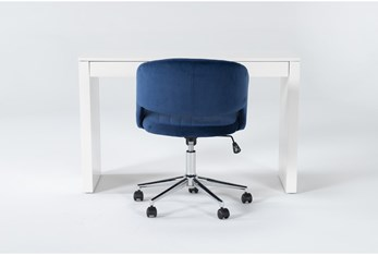 2 Piece Office Set With Vember White Desk + Phoebe Blie Office Chair