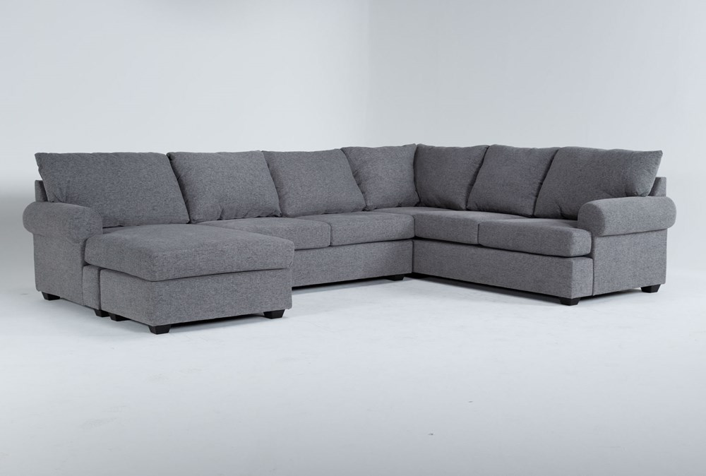 """Hampstead Graphite 140"""" 2 Piece Sectional With Left Arm Facing Chaise"""