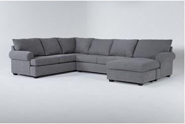 """Hampstead Graphite 140"""" 2 Piece Sectional With Right Arm Facing Chaise"""
