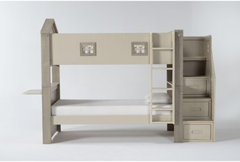 Willow Twin Over Twin House Bunk Bed With Desk Top + Stairway Chest