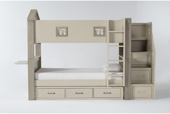 Willow Twin Over Twin House Bunk Bed With Desk Top, Underbed Storage + Stairway Chest