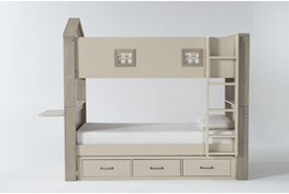 Willow Twin Over Twin House Bunk Bed With Desk Top + Underbed Storage