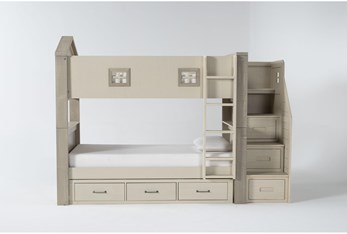 Willow Twin Over Twin House Bunk Bed With Underbed Storage + Stairway Chest