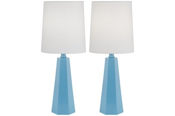 20 Inch Metal Blue Table Lamp Set Of 2