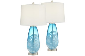 28 Inch Blue Ocean Glass Table Lamp Set Of 2