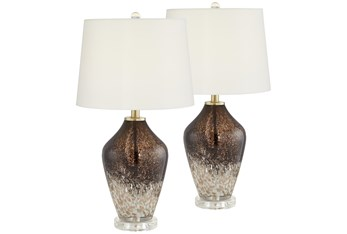 29 Inch Chocolate Glass Table Lamp Set Of 2