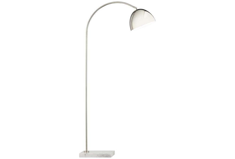 57 Inch Marble Base And Metal Arc Floor Lamp