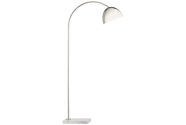 57 Inch Marble Base And Metal Arc Floor Lamp - 360