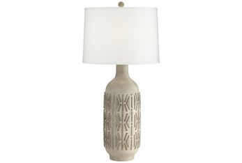 32 Inch Greystone Carved Pattern Table Lamp