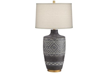 31.5 Inch Black Patterned Table Lamp