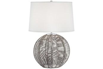 28 Inch Grey Rattan Table Lamp