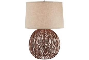 28 Inch Dark Rattan Table Table Lamp