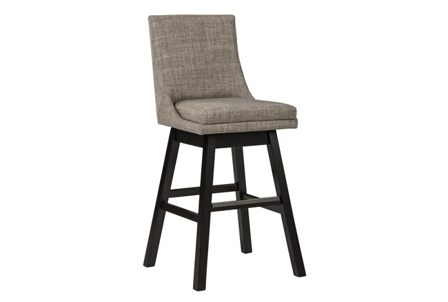 Payson Light Grey Upholstered Swivel 30 Inch Bar Stool Set Of 2 - 360