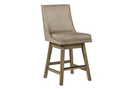 Payson Beige Upholstered Swivel 25 Inch Counter Stool Set Of 2
