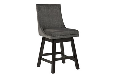 Payson Dark Grey Upholstered Swivel 25 Inch Counter Stool Set Of 2