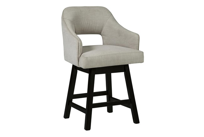 Remy White Upholstered Swivel 25 Inch Counter Stool Set Of 2 - 360