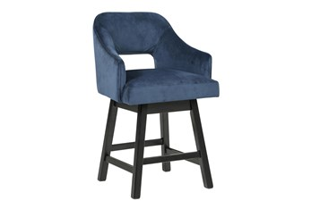 Remy Blue Upholstered Swivel 25 Inch Counter Stool Set Of 2