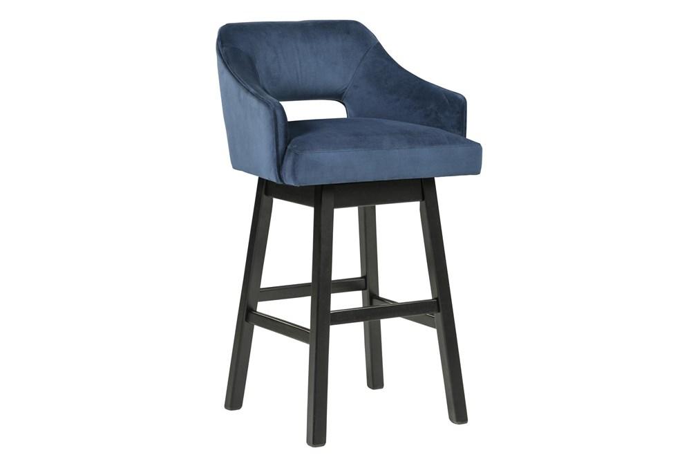 Remy Blue Upholstered Swivel 31 Inch Bar Stool Set Of 2