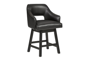 Remy Black Upholstered Swivel 25 Inch Counter Stool Set Of 2