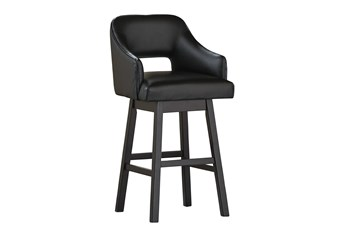 Remy Black Upholstered Swivel 31 Inch Bar Stool Set Of 2