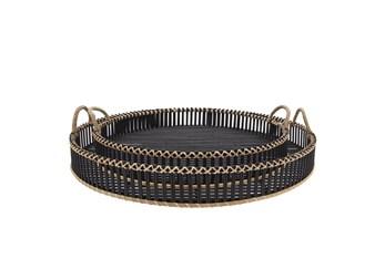 "24 & 30"" Black Round Rattan Trays Set Of Two"