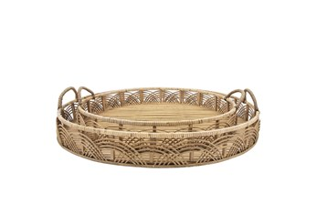 """24 & 30"""" Natural Rattan Round Trays Set Of Two"""