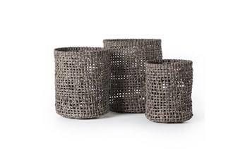 Grey Recycled Plastic Baskets Set Of 3