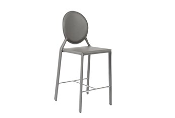 Oval Back Grey Leather-Like 26 Inch Counter Stool-Set Of 2