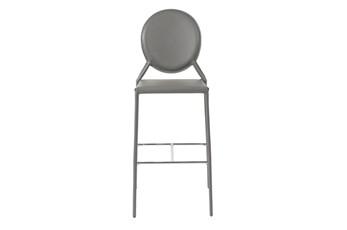 Oval Back Grey Leather-Like 30 Inch Bar Stool-Set Of 2