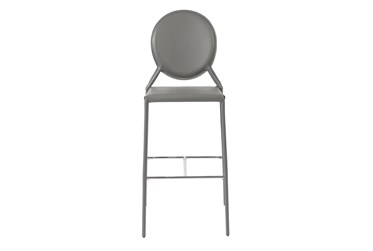 Oval Back Grey Faux Leather 30 Inch Bar Stool-Set Of 2