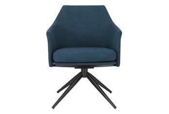 Wesler Blue Swivel Armchair With Black Steel Base